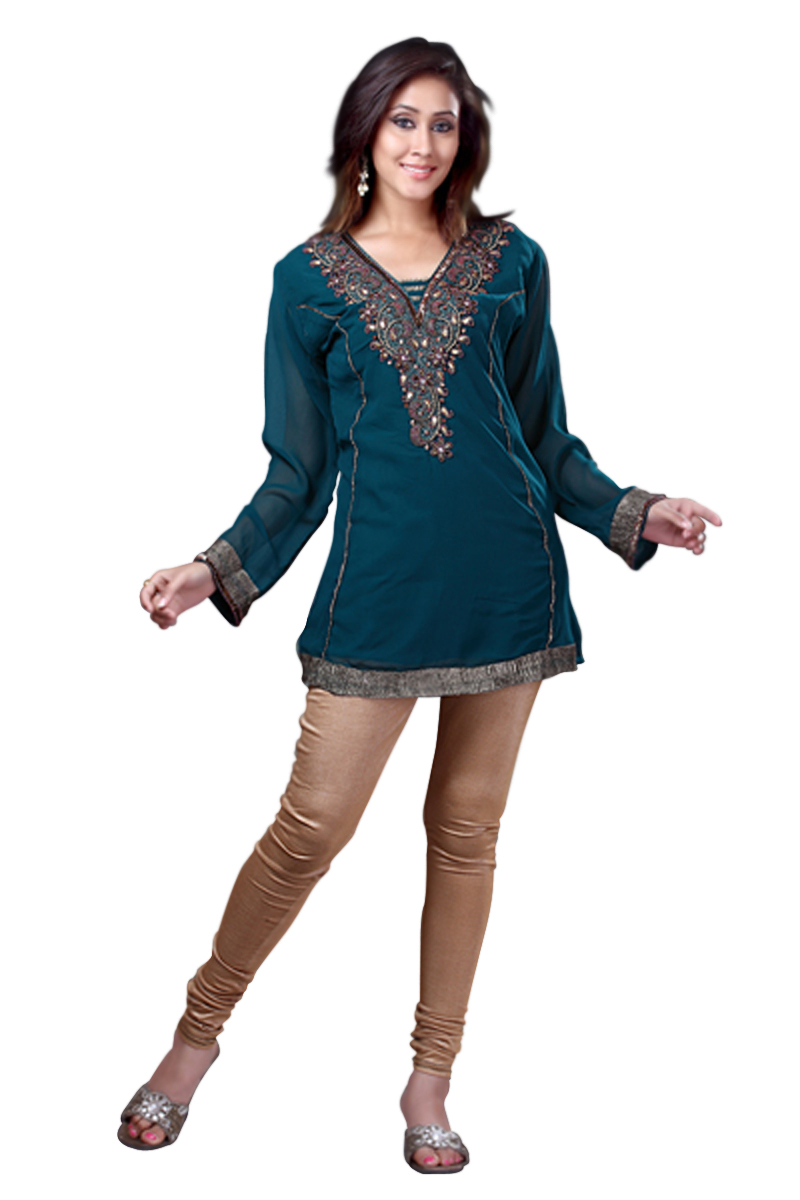 Rama Green Georgette KurtiTunic w designer embroidery-X-Large plus size,  plus size fashion plus size appare