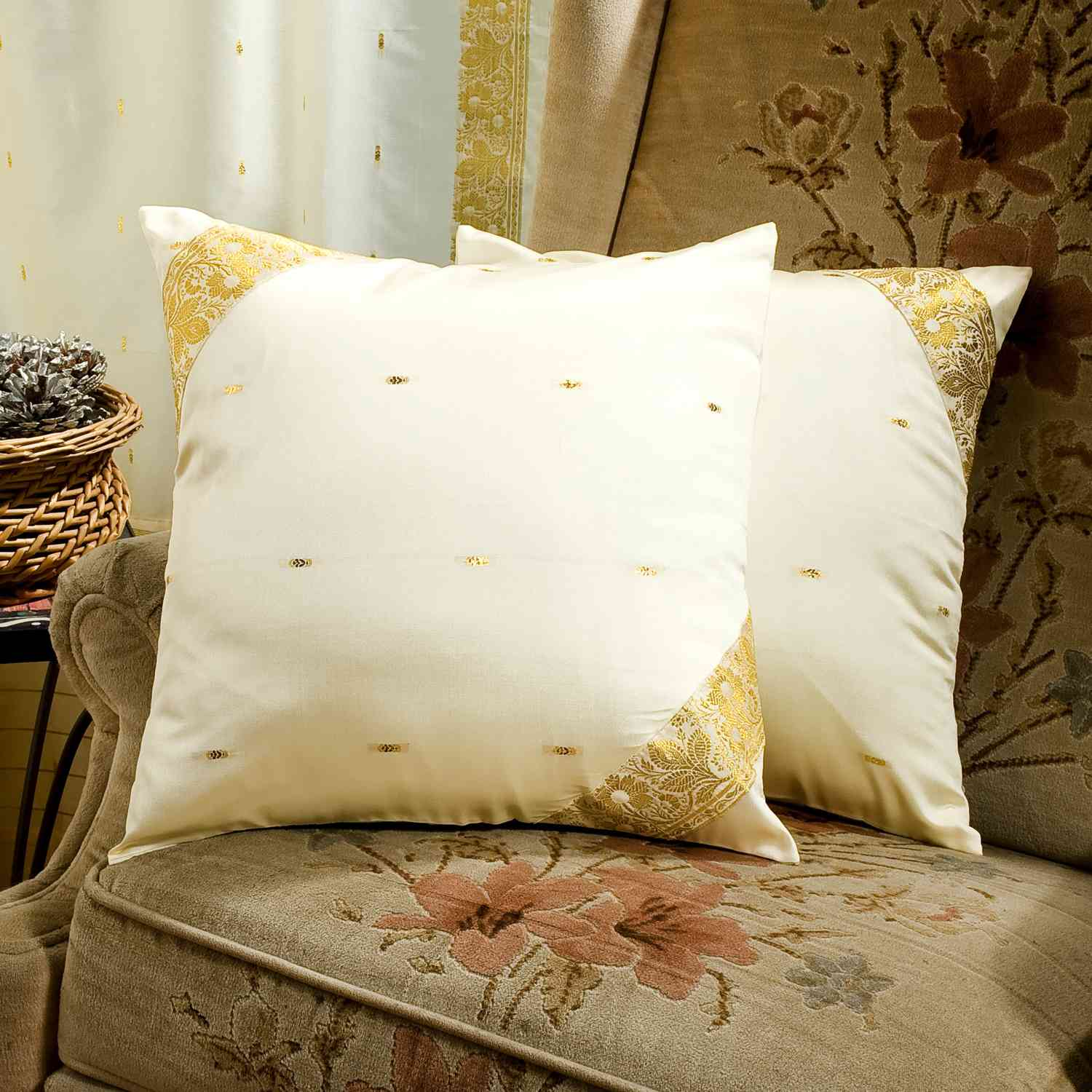 Cream-Decorative handcrafted Cushion Cover, Throw Pillow ...