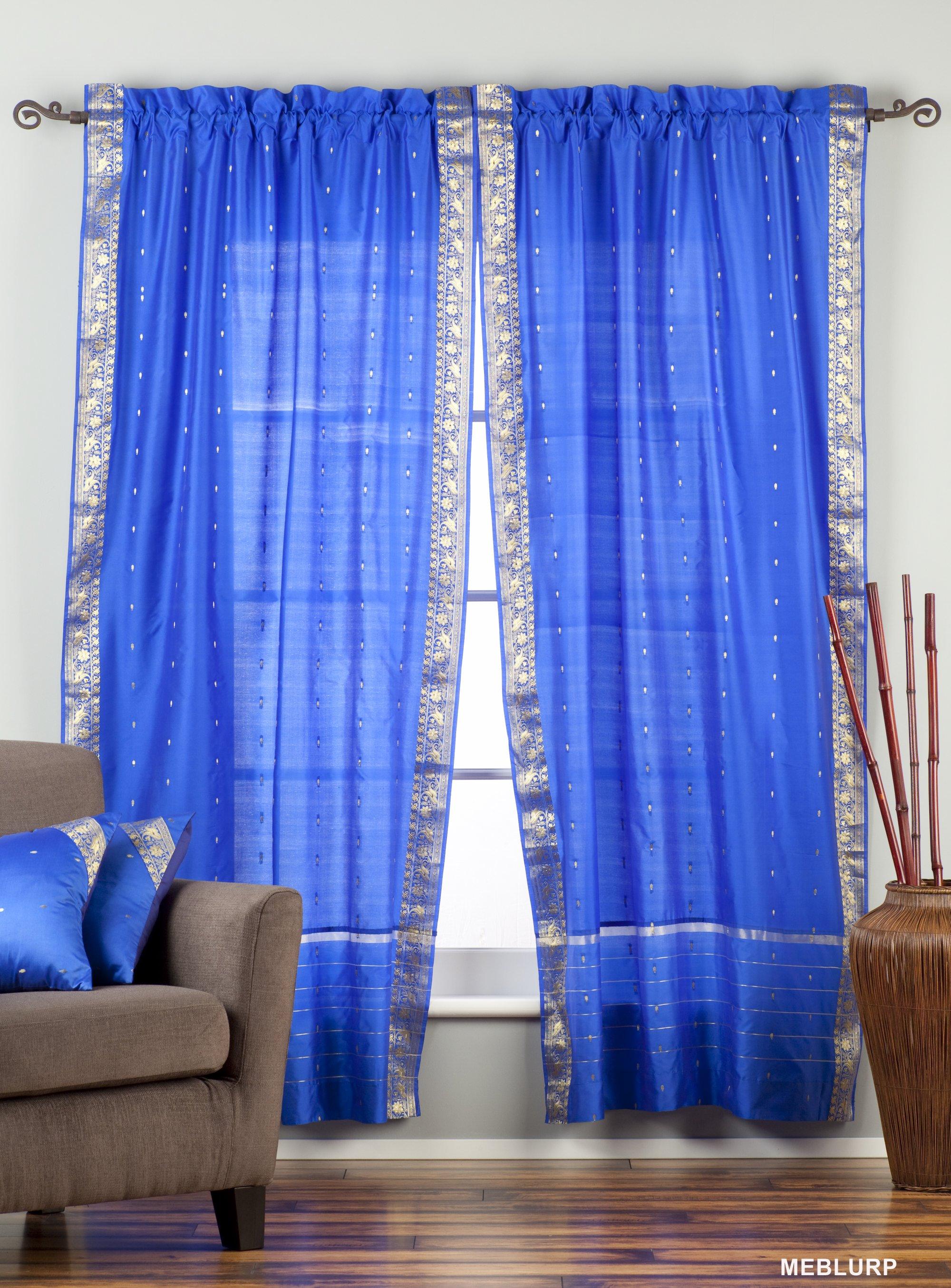 Indian Selections Enchanting Blue Rod Pocket Sheer Sari Curtain / Drape / Panel - Piece