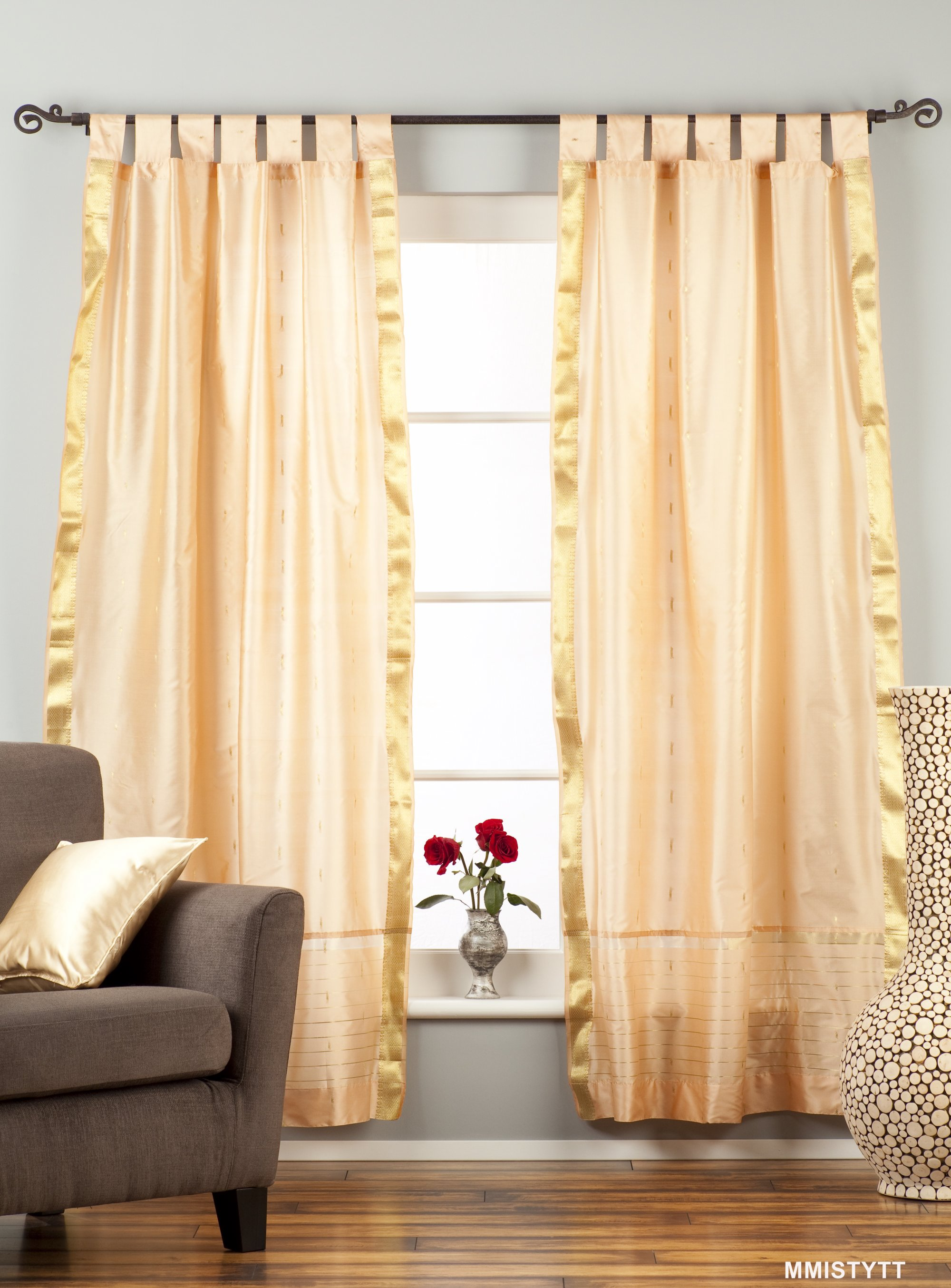 Indian Selections Misty Rose  Tab Top  Sheer Sari Curtain / Drape / Panel  - Piece at Sears.com
