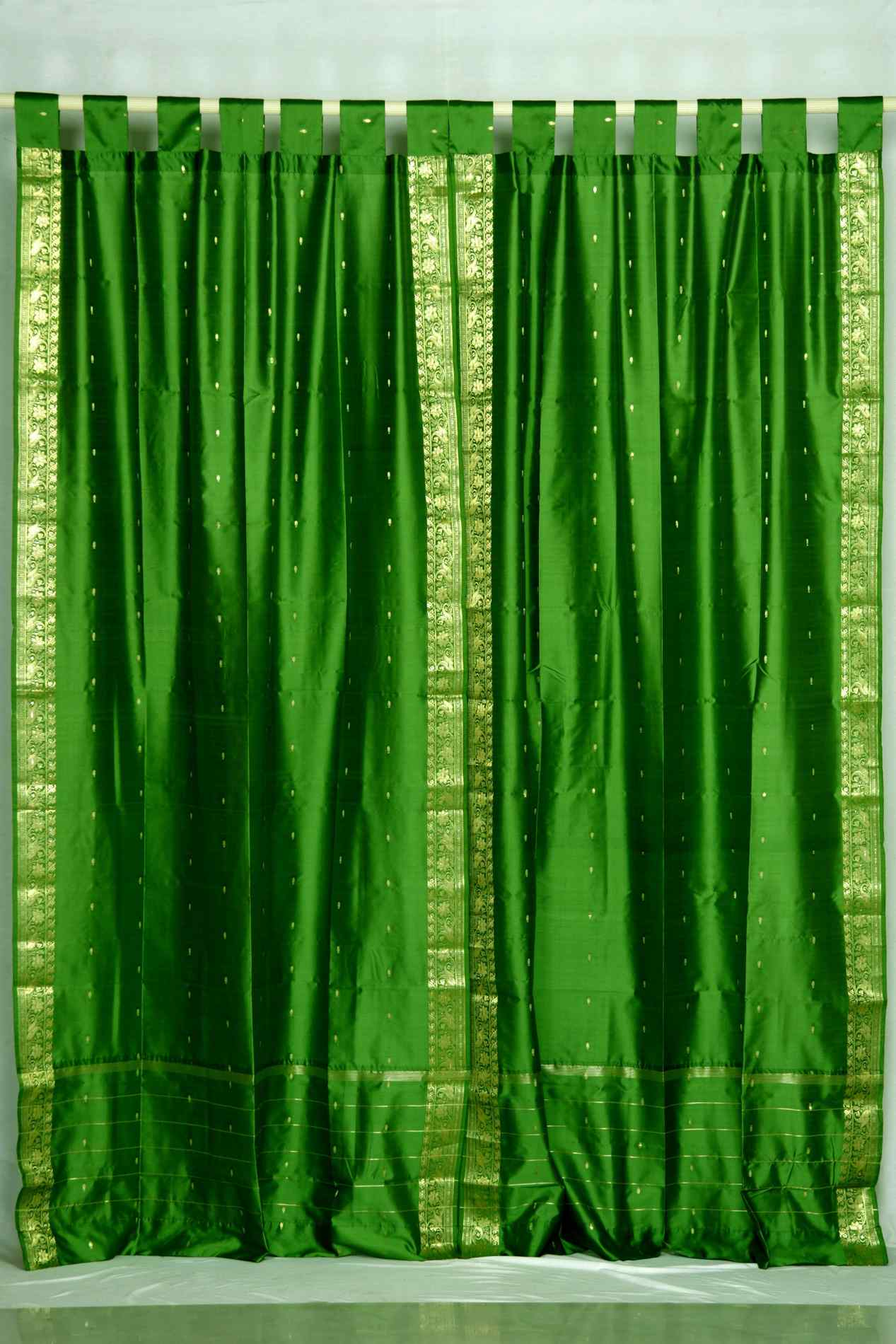 Indian Selections Forest Green  Tab Top  Sheer Sari Curtain / Drape / Panel  - Pair at Sears.com