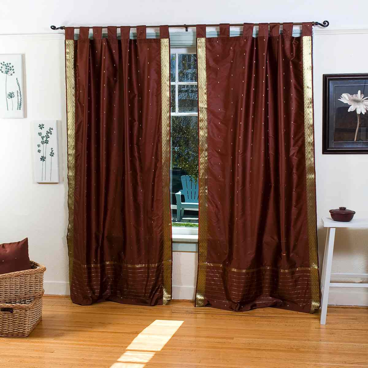 Indian Selections Brown  Tab Top  Sheer Sari Curtain / Drape / Panel  - Pair at Sears.com