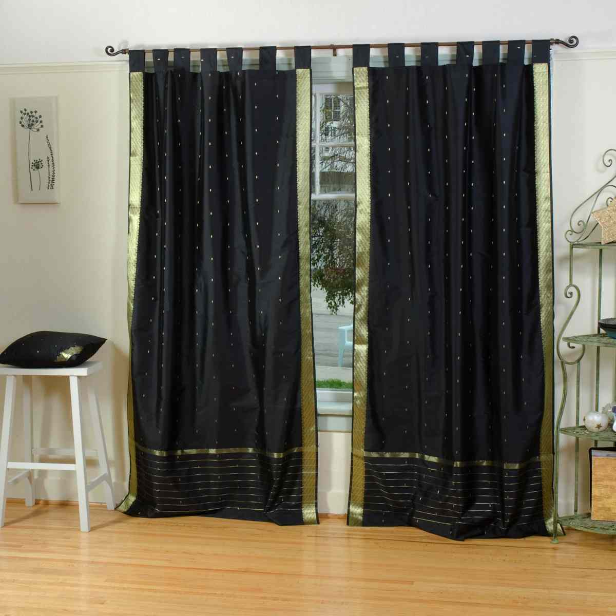 black tab top sheer sari curtain drape panel piece