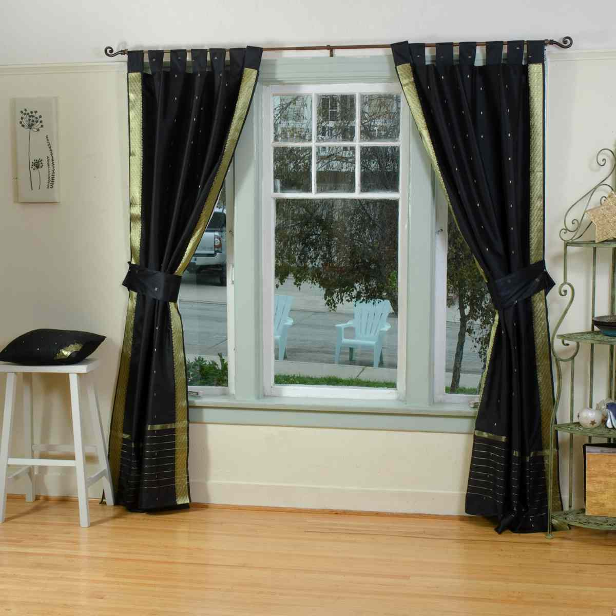 Indian Selections Indo Black Tab Top Sari Sheer Curtain (43 in. x 84 in.) with matching tieback at Sears.com