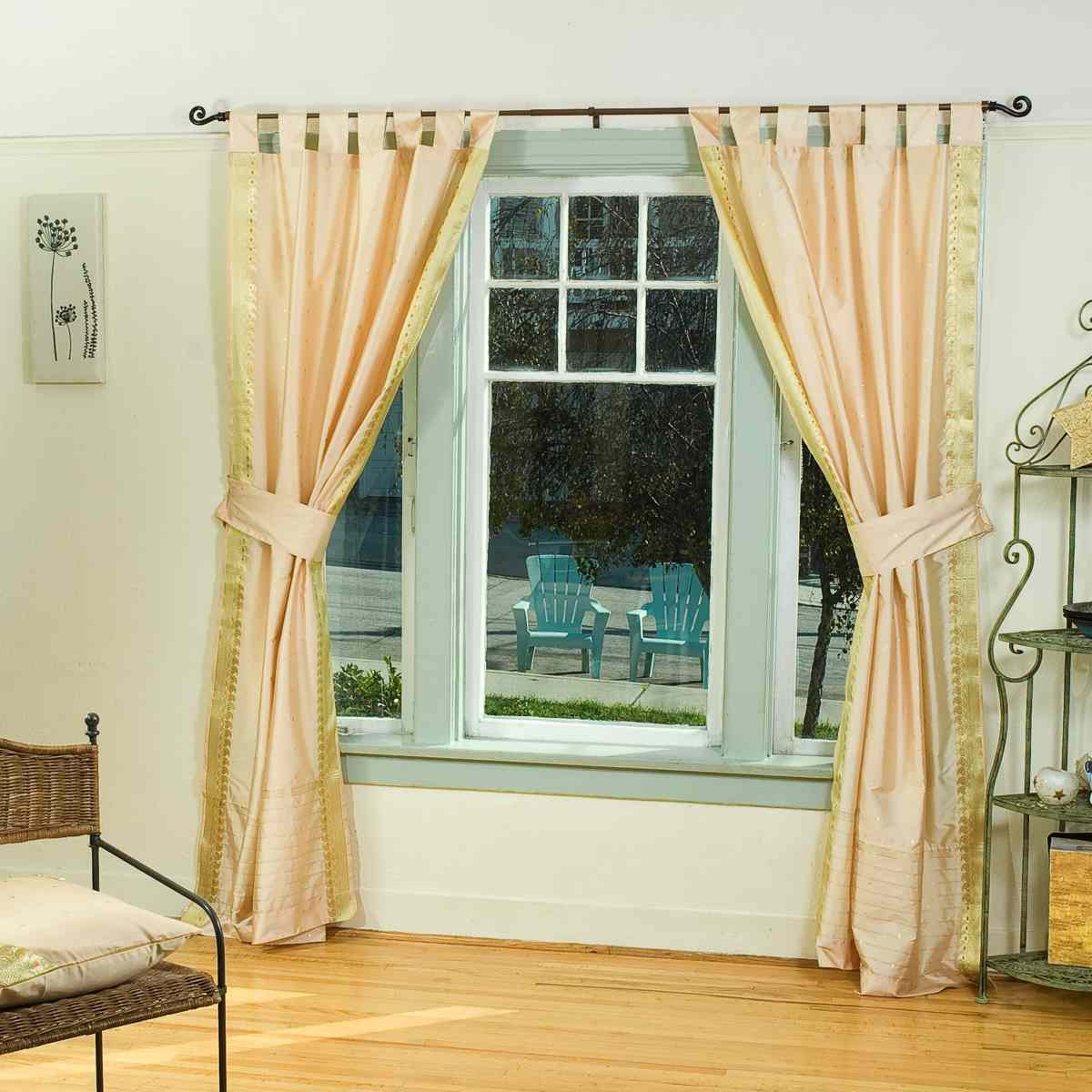 Indian Selections Indo Golden  Tab Top Sari Sheer Curtain (43 in. x 84 in.) with matching tieback at Sears.com