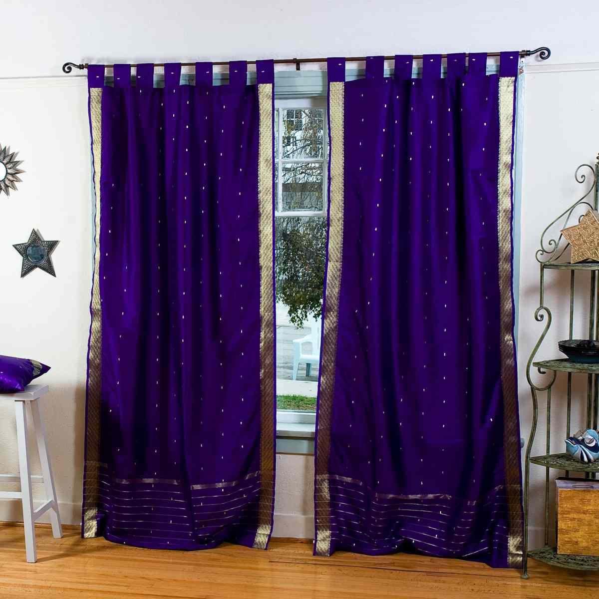 Indian Selections Purple Tab Top Sheer Sari Curtain / Drape / Panel - Piece