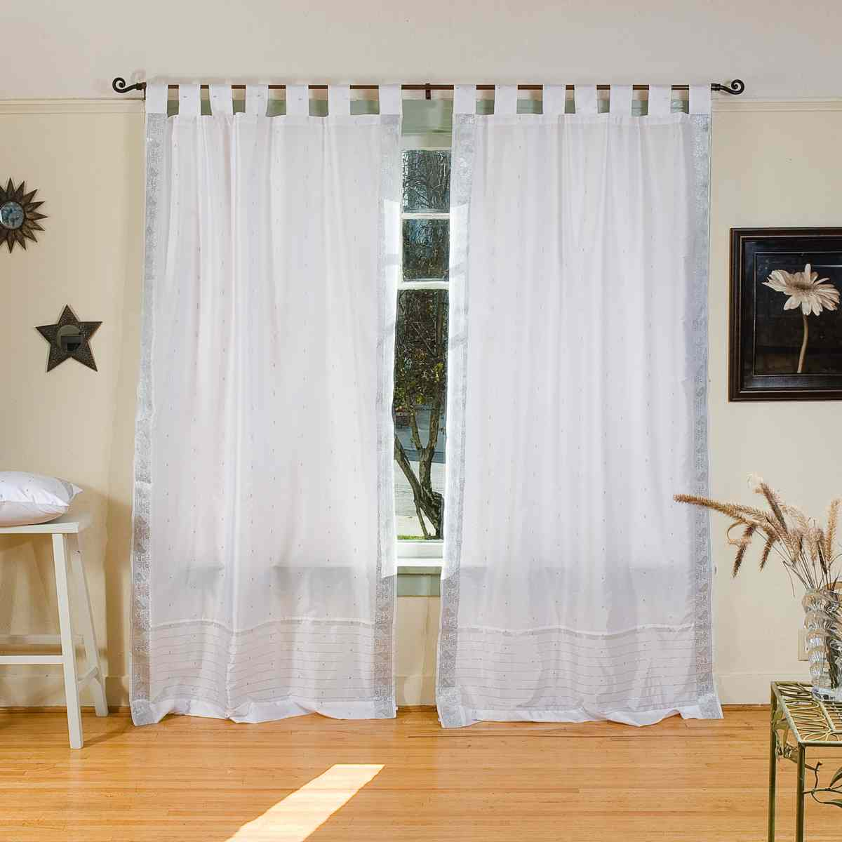 White Silver Tab Top Sheer Sari Curtain Drape Panel