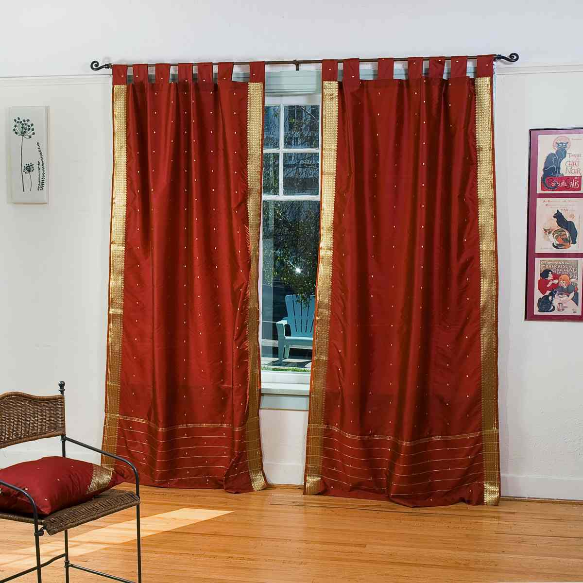 Rust Tab Top Sheer Sari Curtain Drape Panel Piece Ebay