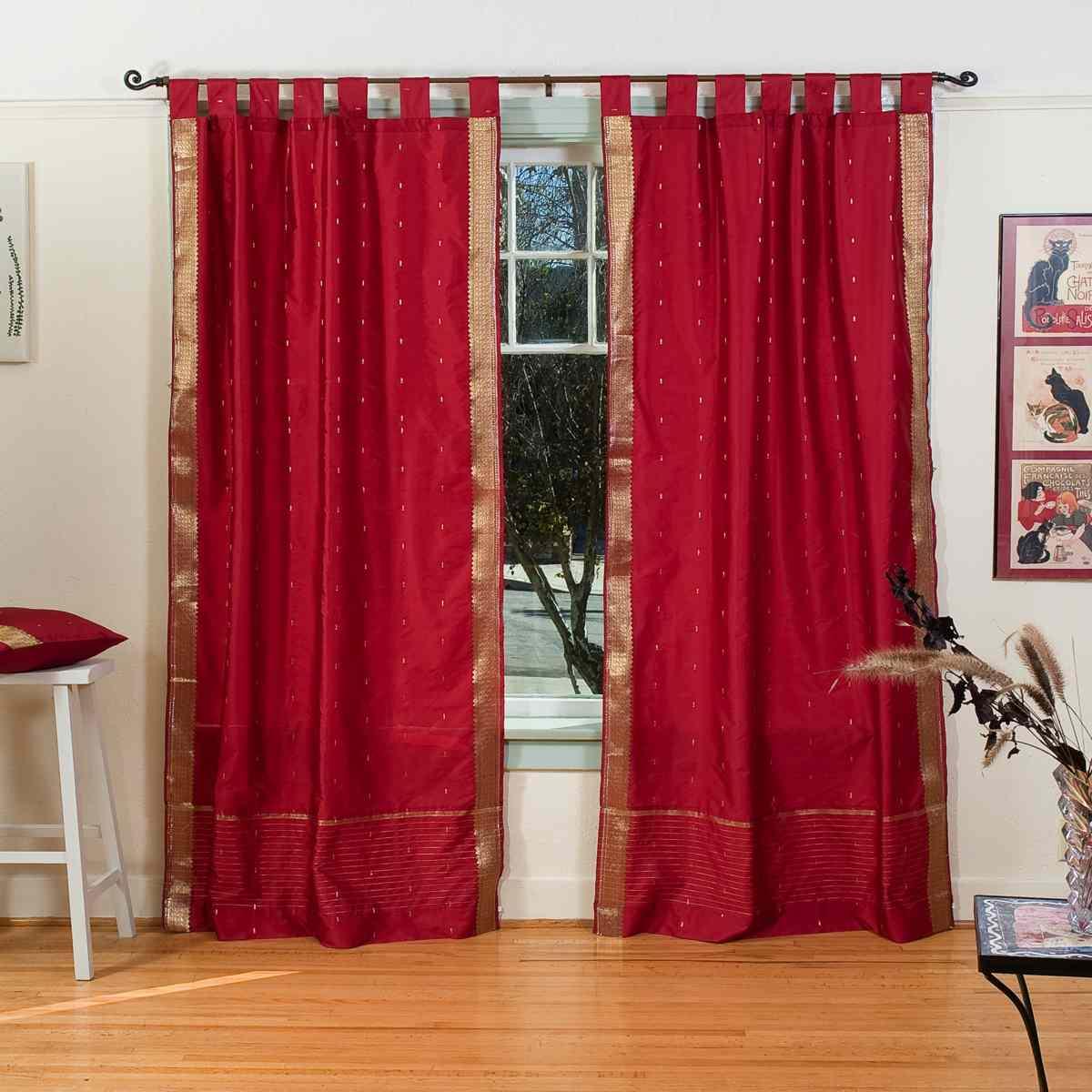 Maroon Tab Top Sheer Sari Curtain Drape Panel Piece Ebay