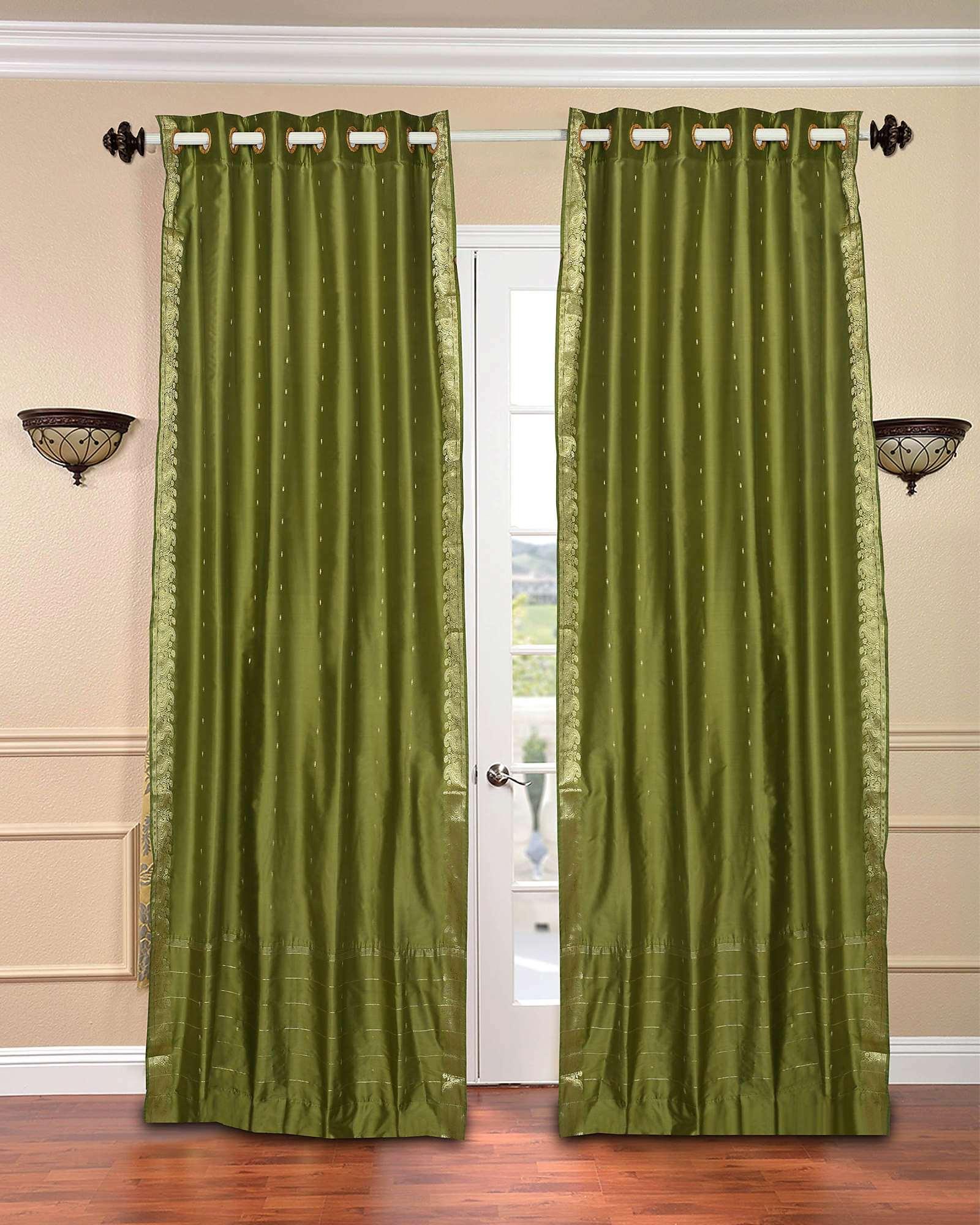 Olive Green Ring Top Sheer Sari Curtain / Drape / Panel