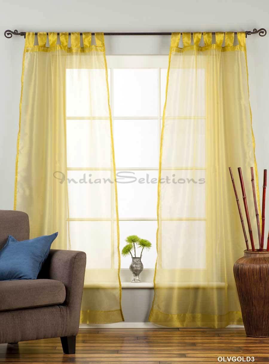 Olive Gold Tab Top Sheer Tissue Curtain Drape Panel 84 Piece Ebay