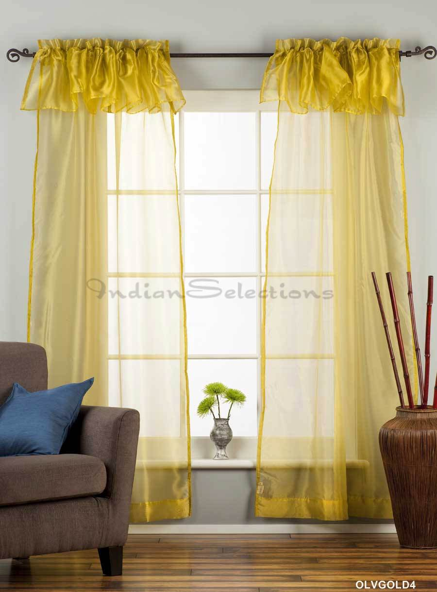 Olive Gold Rod Pocket W Attached Valance Sheer Tissue Curtain Panel 84 Piece