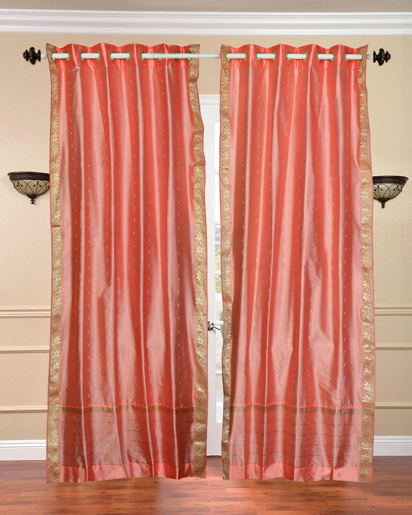 Peach pink ring top sheer sari curtain drape panel piece ebay