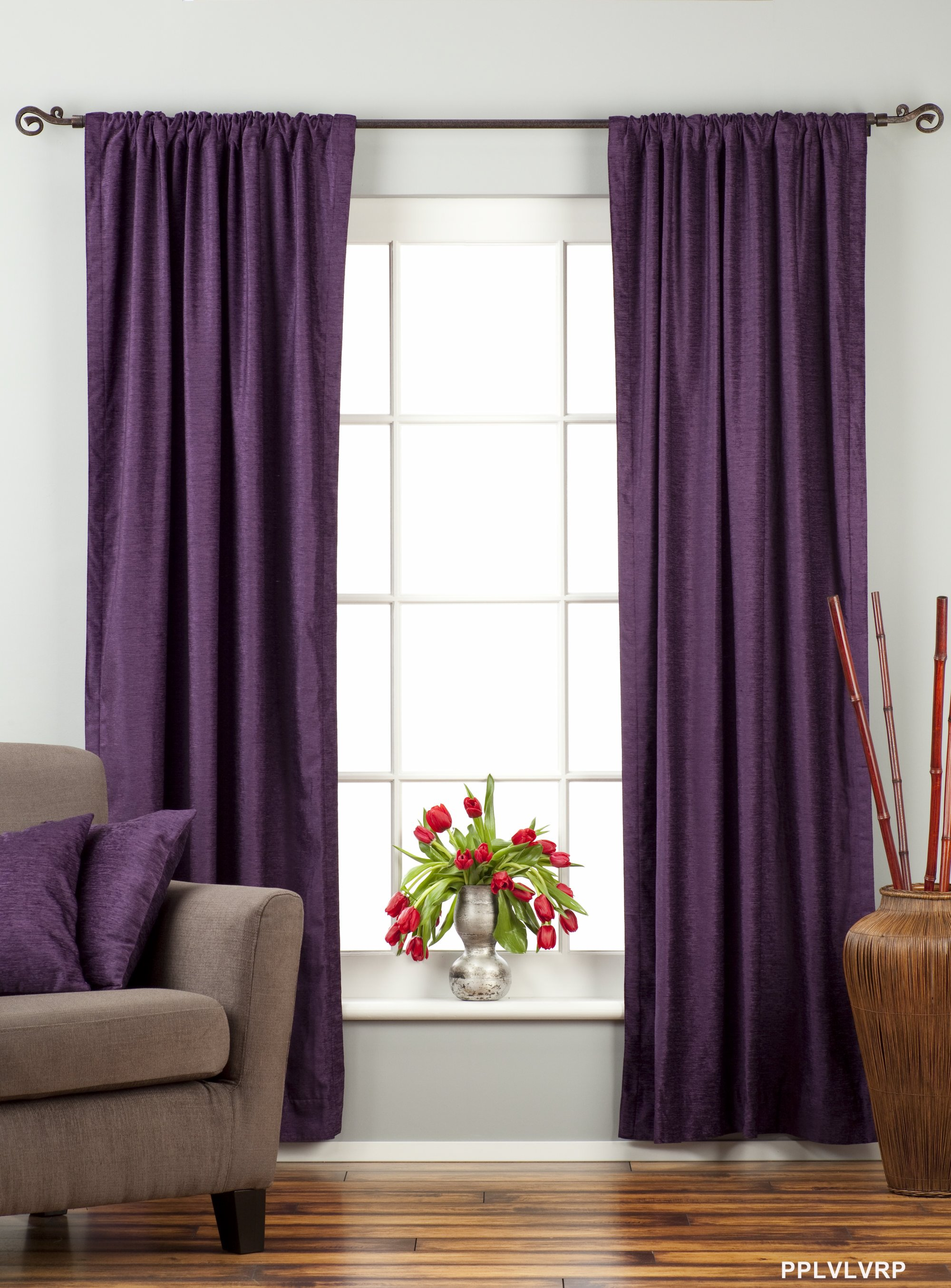 Purple Rod Pocket Velvet Curtain Drape Panel Piece