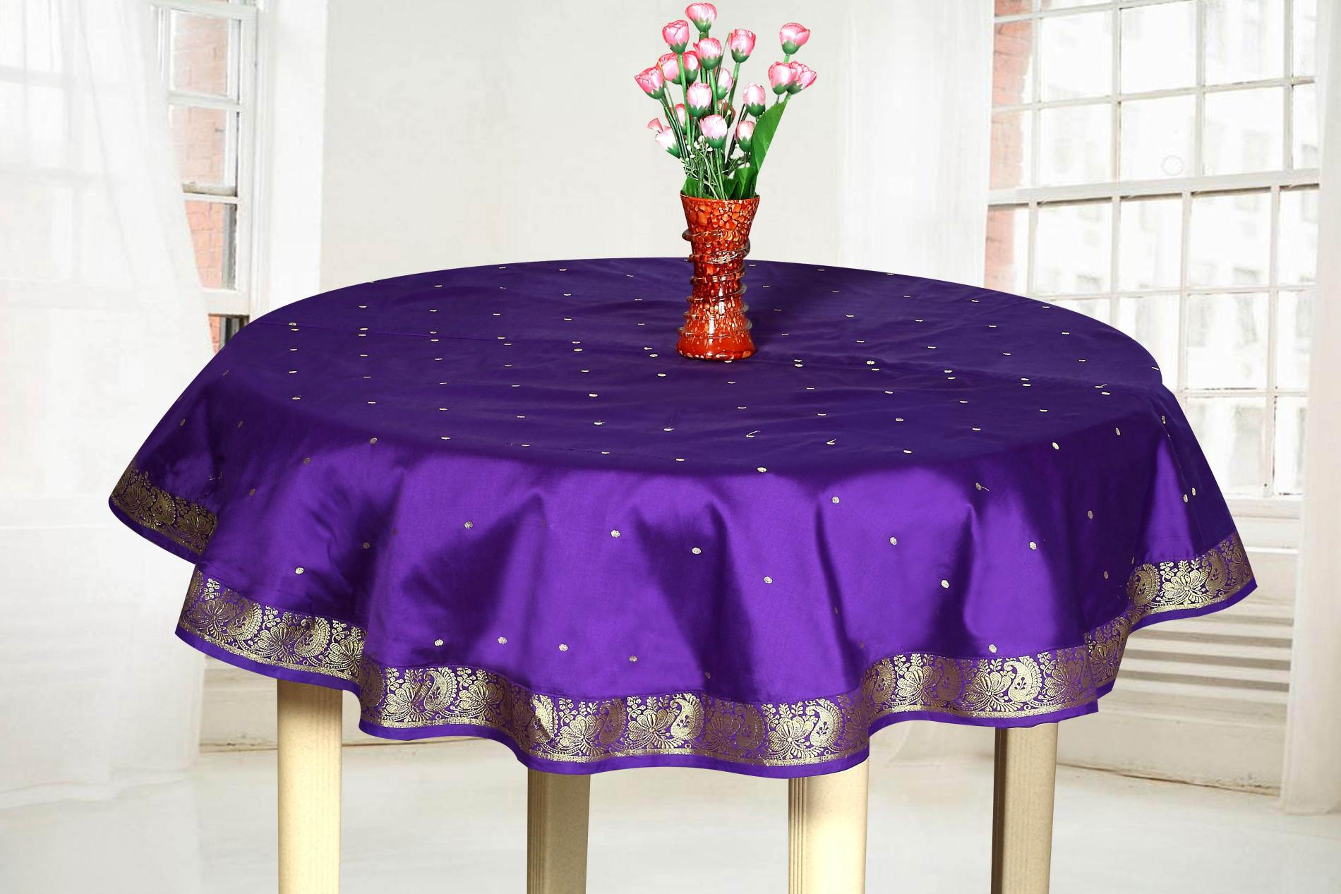 Table Cloth For Round Table Purple Handmade Sari Tablecloth India Round