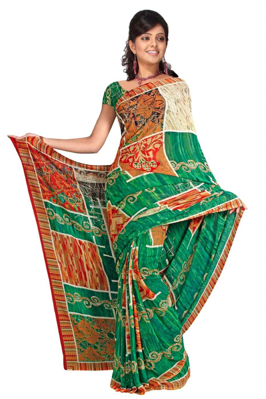 Girisha Georgette Printed Casual Saree Sari Bellydance fabric