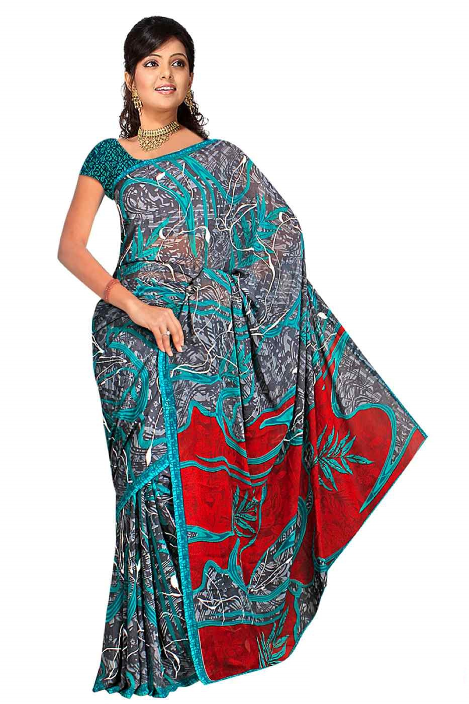 Trisha Georgette Printed Casual Saree Sari Bellydance fabric