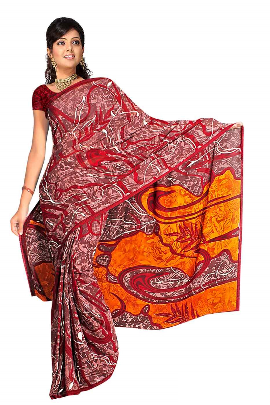 Eta Georgette Printed Casual Saree Sari Bellydance fabric