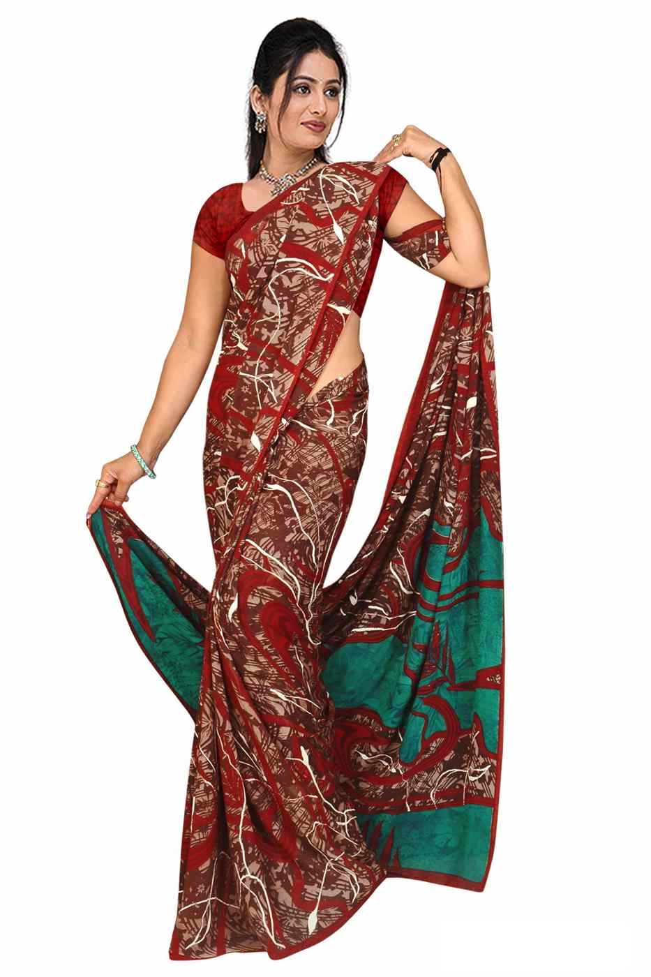 Ekta Georgette Printed Casual Saree Sari Bellydance fabric