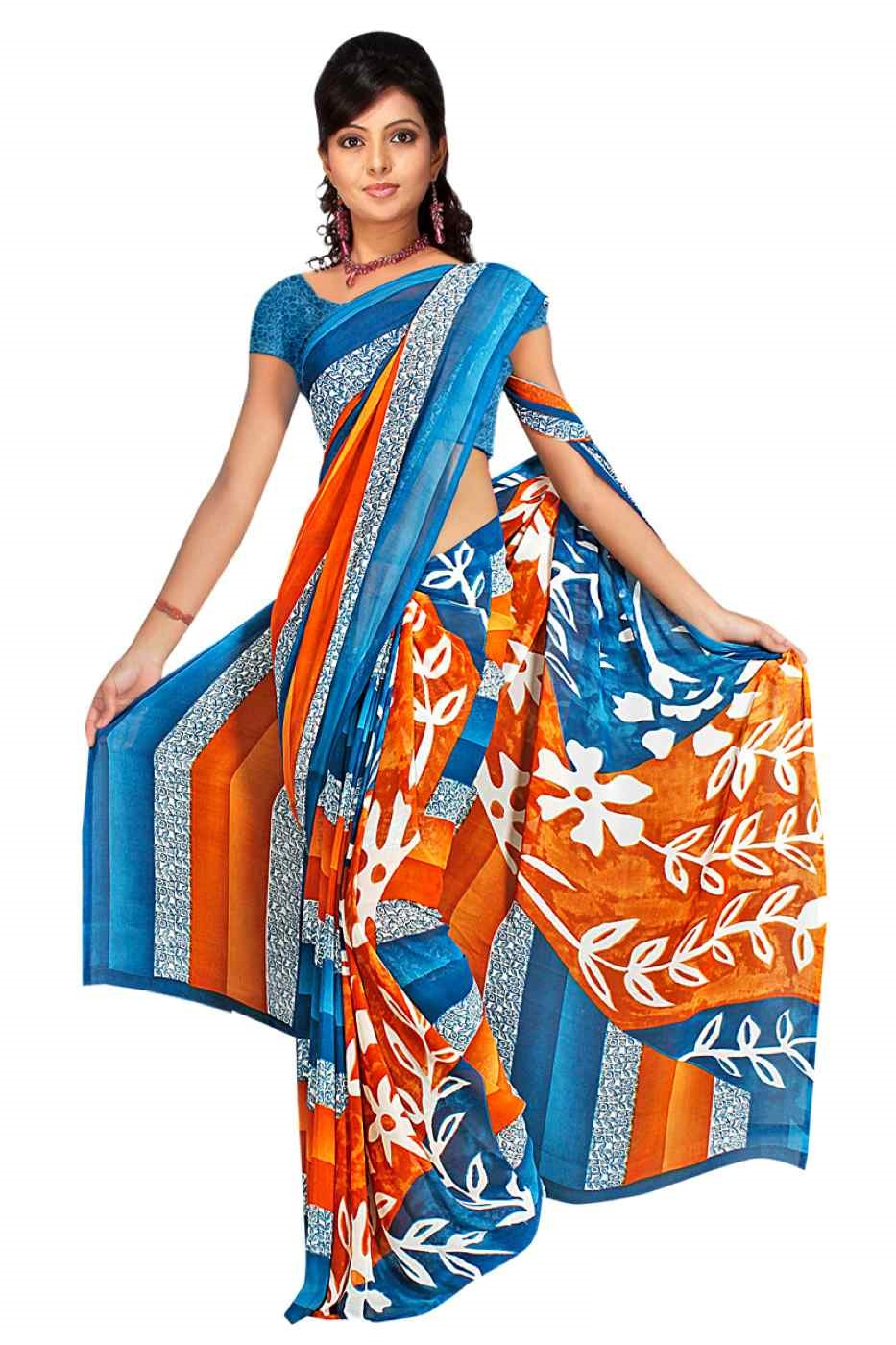 Indian Selections Ekaa Georgette Printed Casual Saree Sari Bellydance fabric at Sears.com