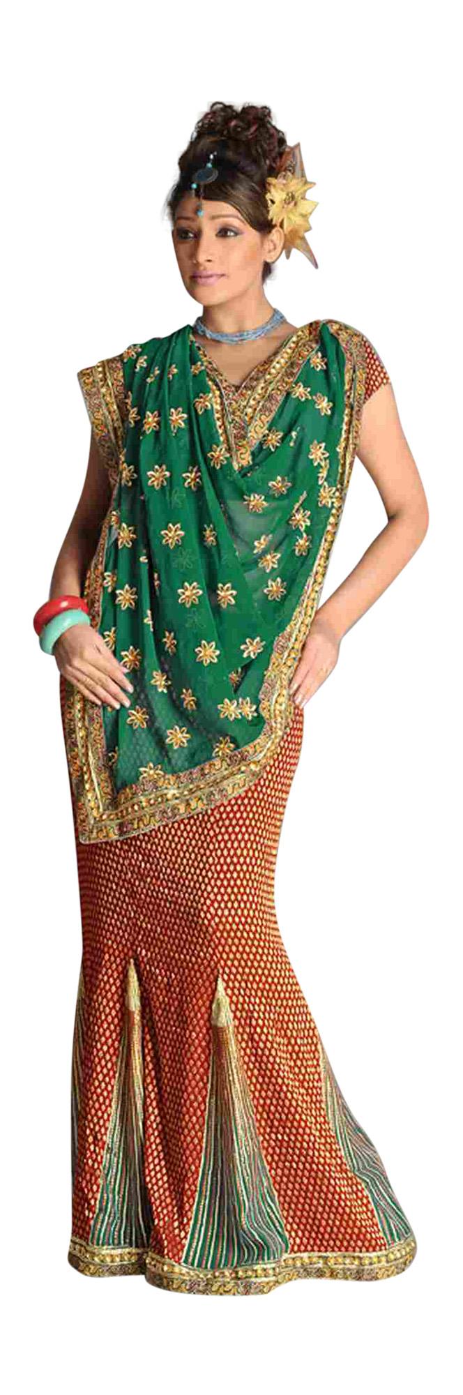 Arkita Trend Setter Lehenga Choli Style Georgette Sari  Saree