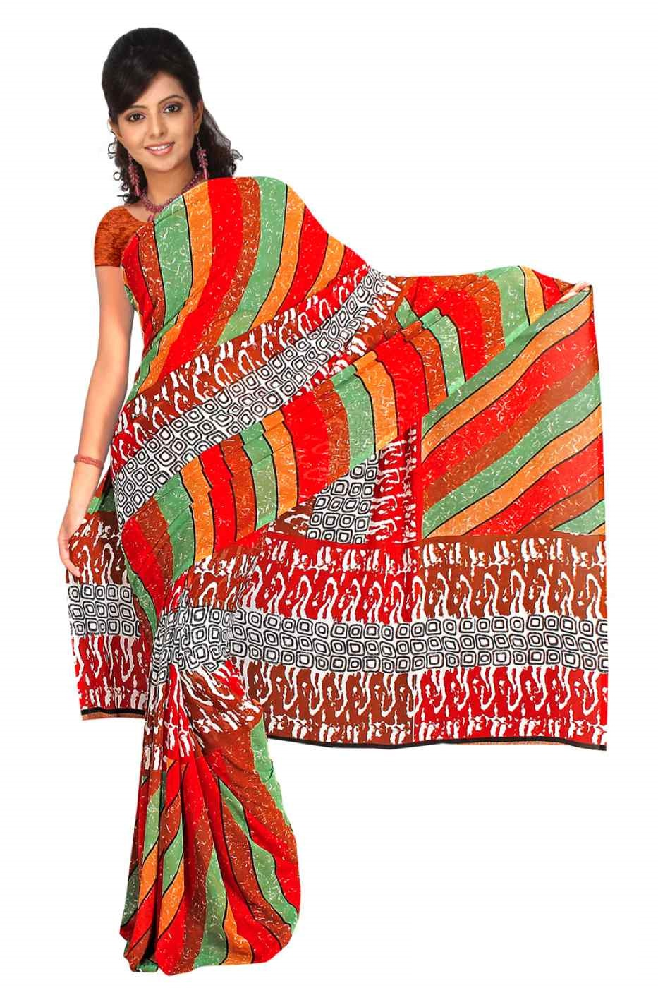 Indian Selections Eila Georgette Printed Casual Saree Sari Bellydance fabric at Sears.com
