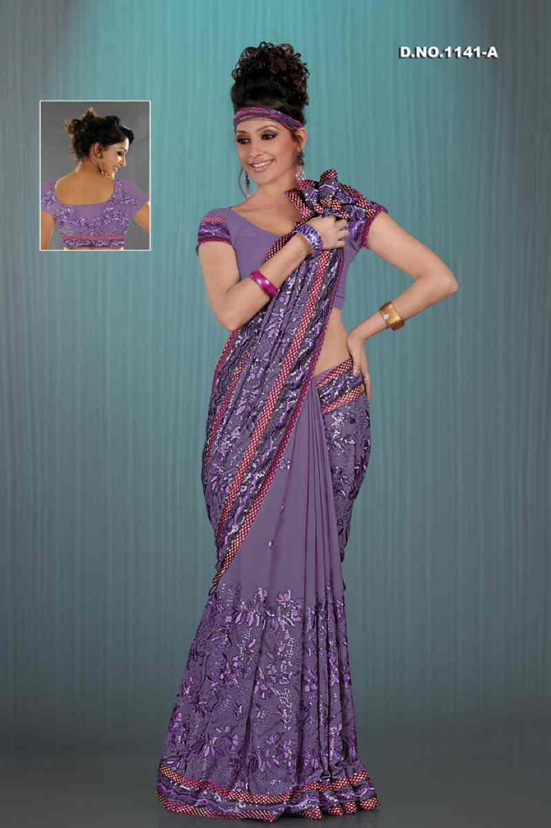 Aamani Lavender  Georgette Designer Party Wear Sari saree