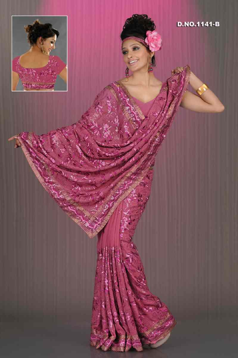 Aanchal Dusty pink  Georgette Designer Party Wear Sari saree