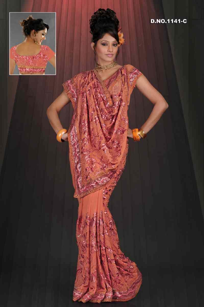 Aarti Dusty peach  Georgette Designer Party Wear Sari saree