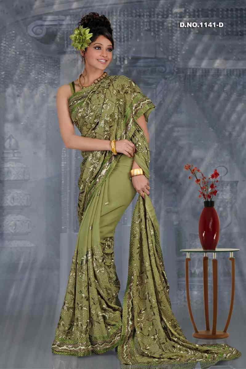 Aarushi Dusty Pista green  Georgette Designer Party Wear Sari saree