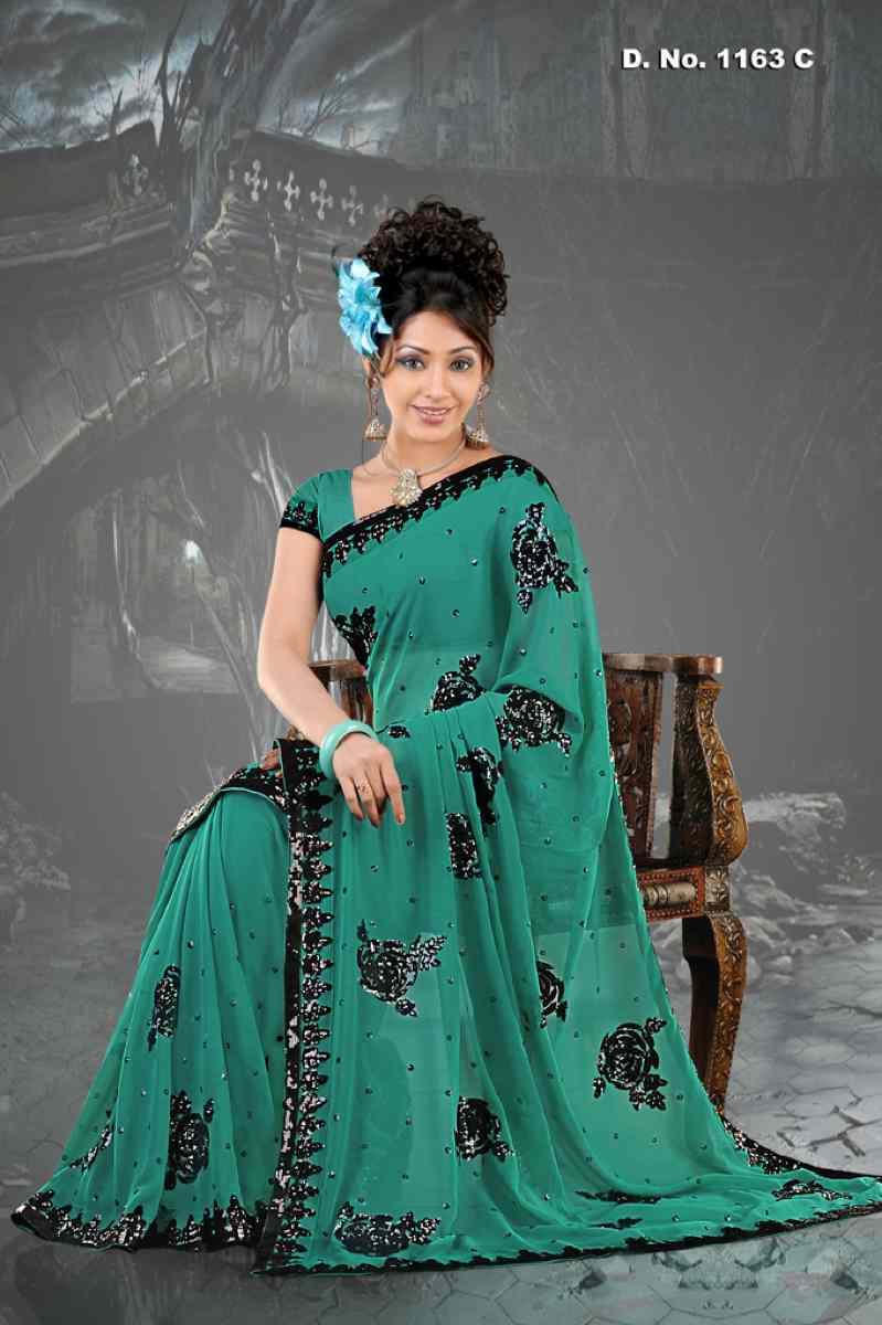 Indian Selections Alka Rama Firozi  Georgette Designer Party Wear Sari saree at Sears.com