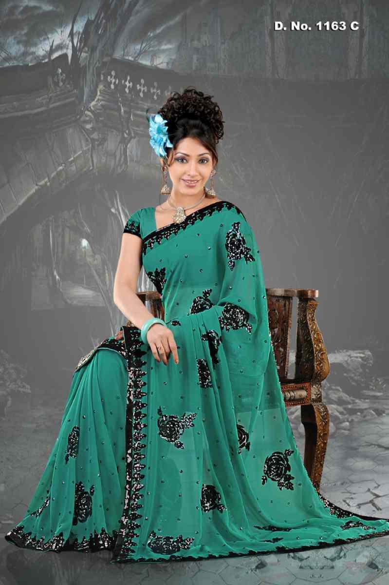 Alka Rama Firozi  Georgette Designer Party Wear Sari saree