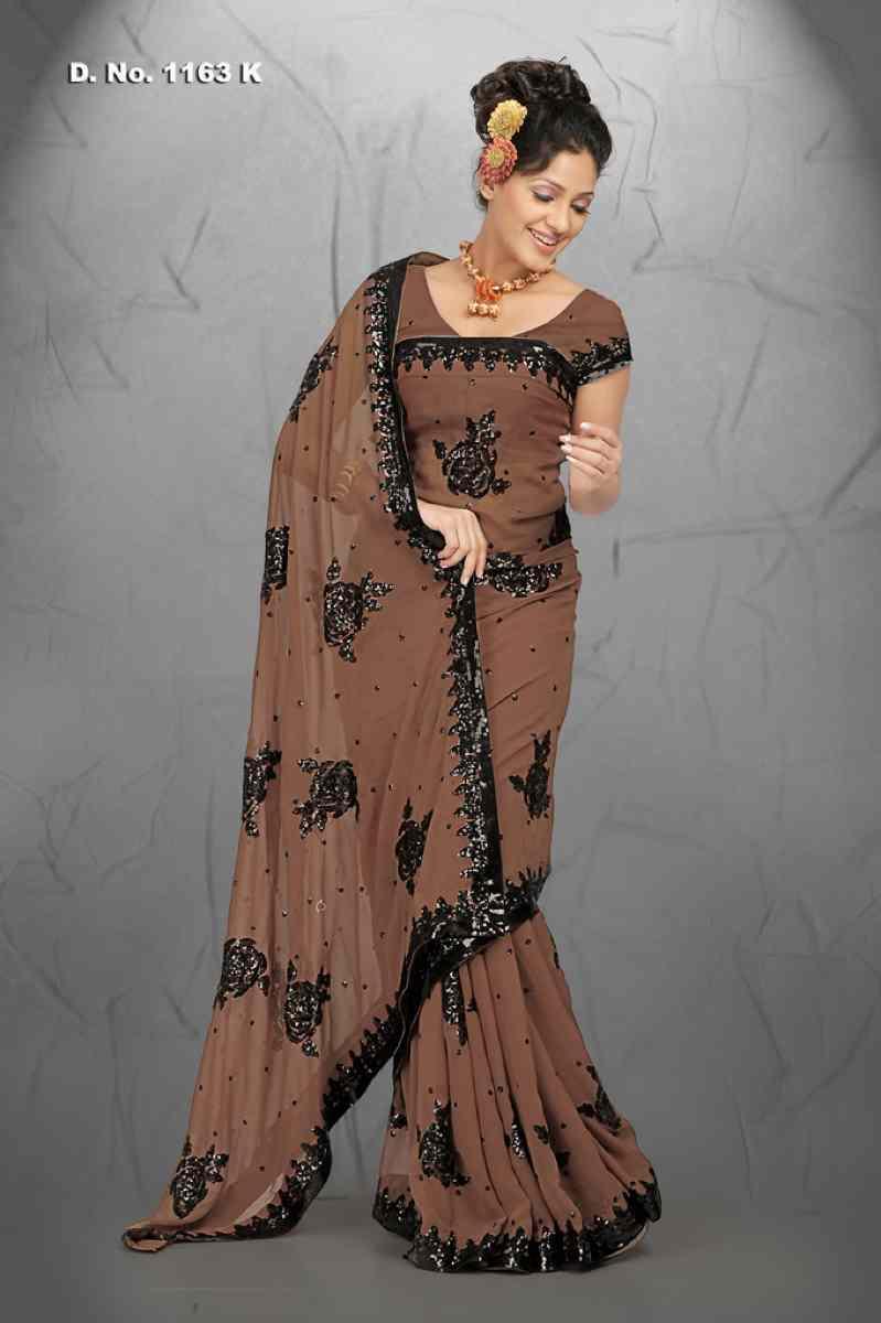 Ambika Brown  Georgette Designer Party Wear Sari saree
