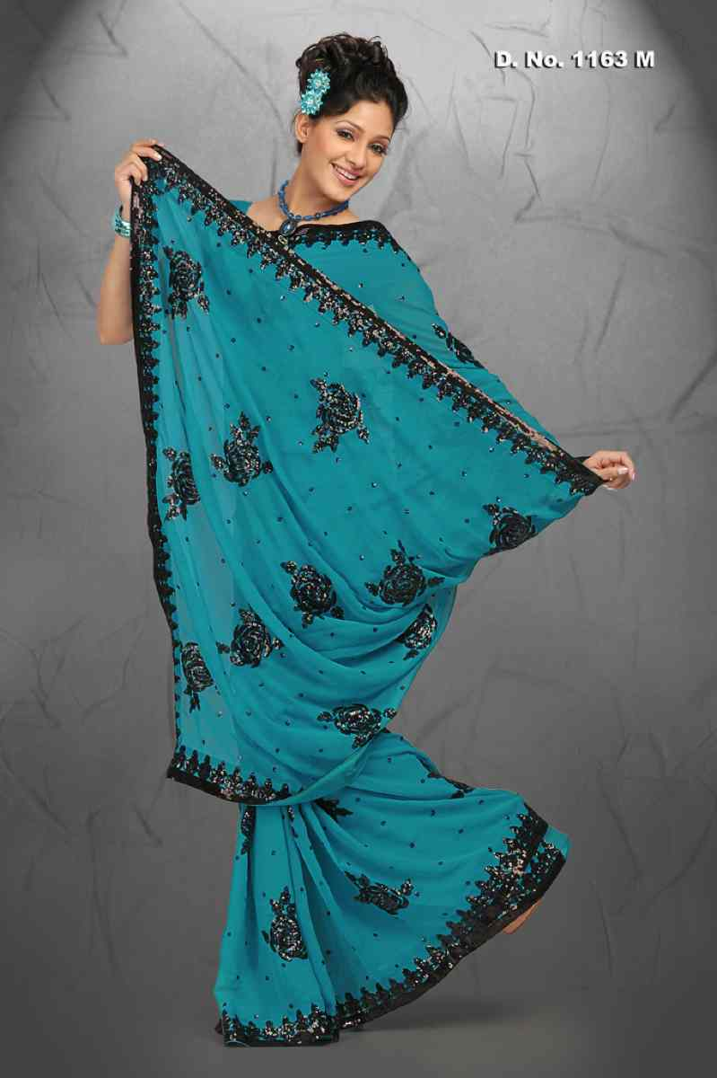 Indian Selections Ami Firozi  Georgette Designer Party Wear Sari saree at Sears.com