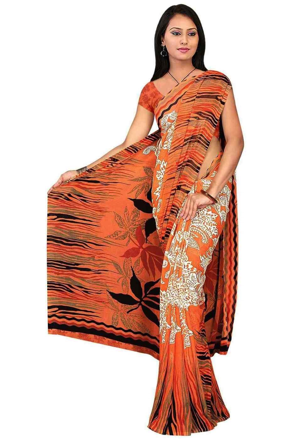 Drishya Georgette Printed Casual Saree Sari Bellydance fabric