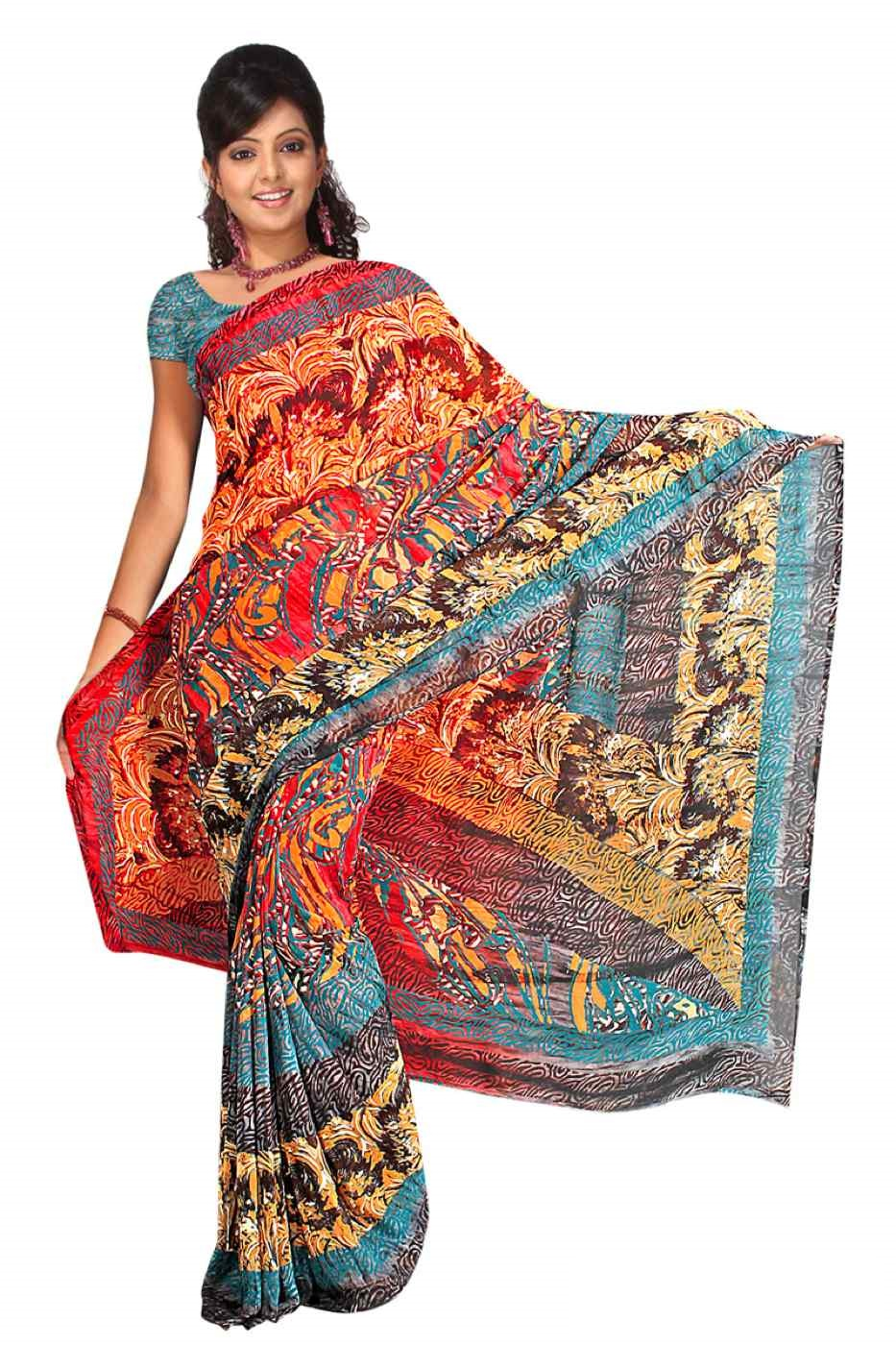 Divya Georgette Printed Casual Saree Sari Bellydance fabric