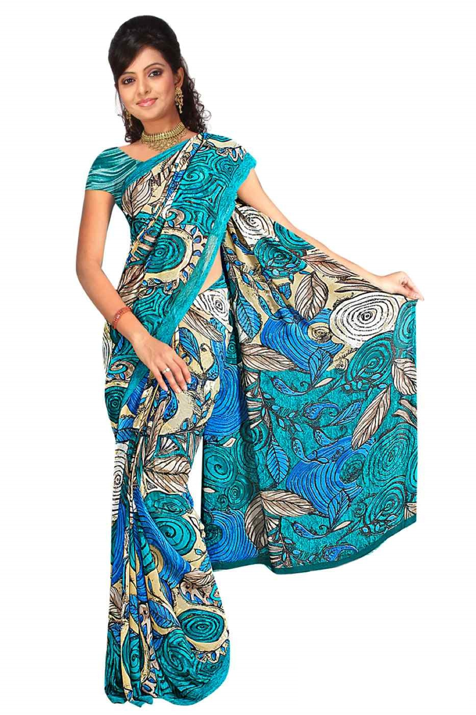 Dishita Georgette Printed Casual Saree Sari Bellydance fabric