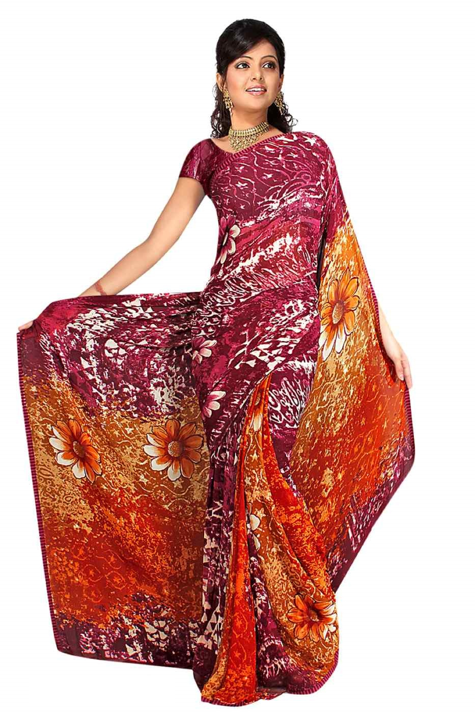 Disha Georgette Printed Casual Saree Sari Bellydance fabric