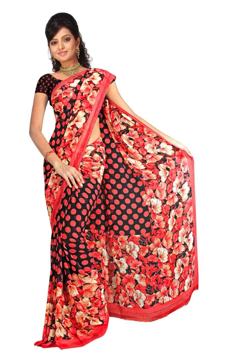 Dhyana Georgette Printed Casual Saree Sari Bellydance fabric