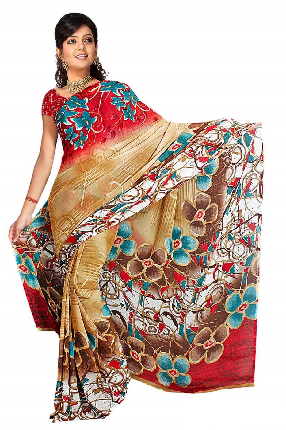Dhruva Georgette Printed Casual Saree Sari Bellydance fabric