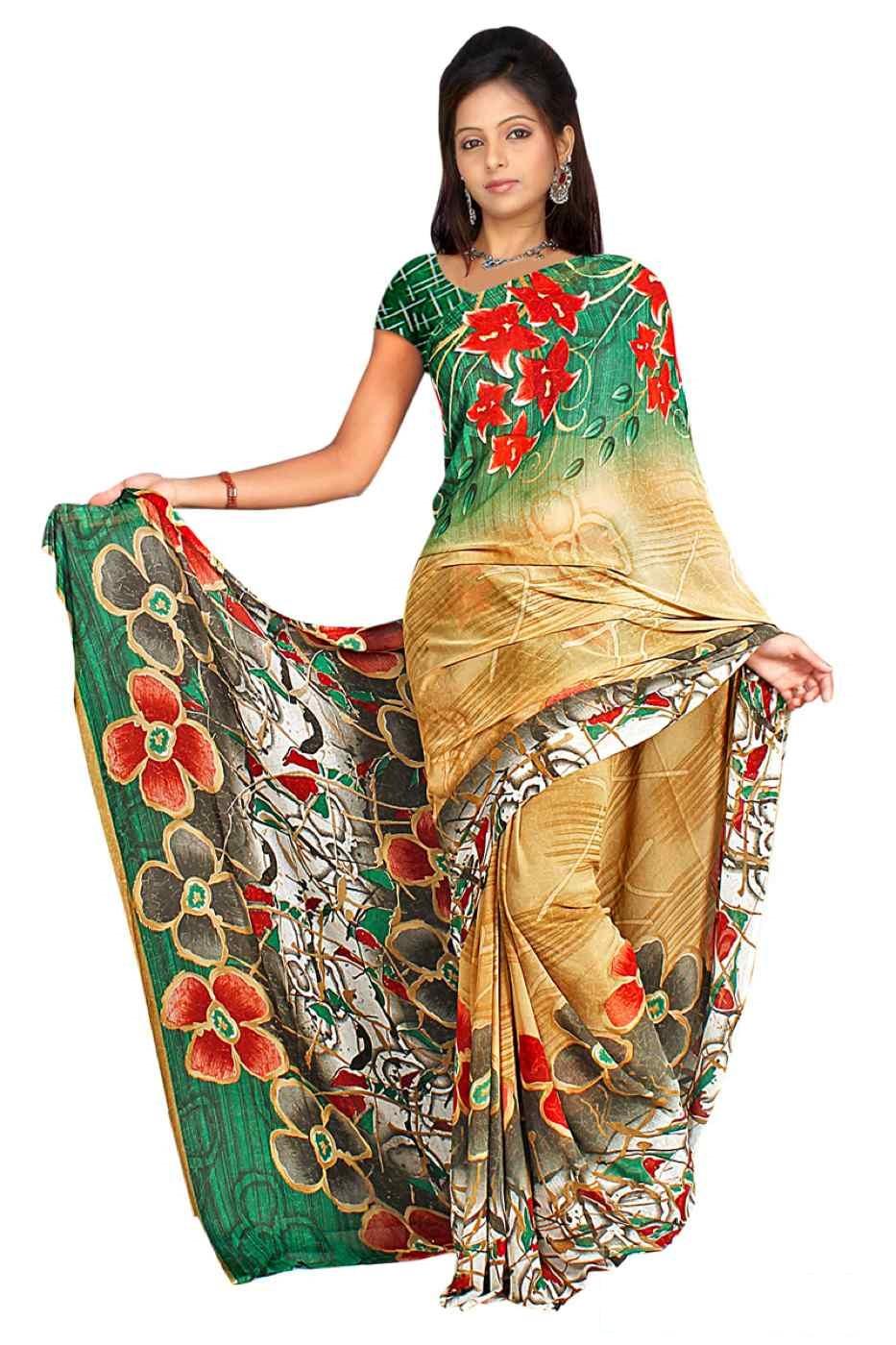 Dhruti Georgette Printed Casual Saree Sari Bellydance fabric