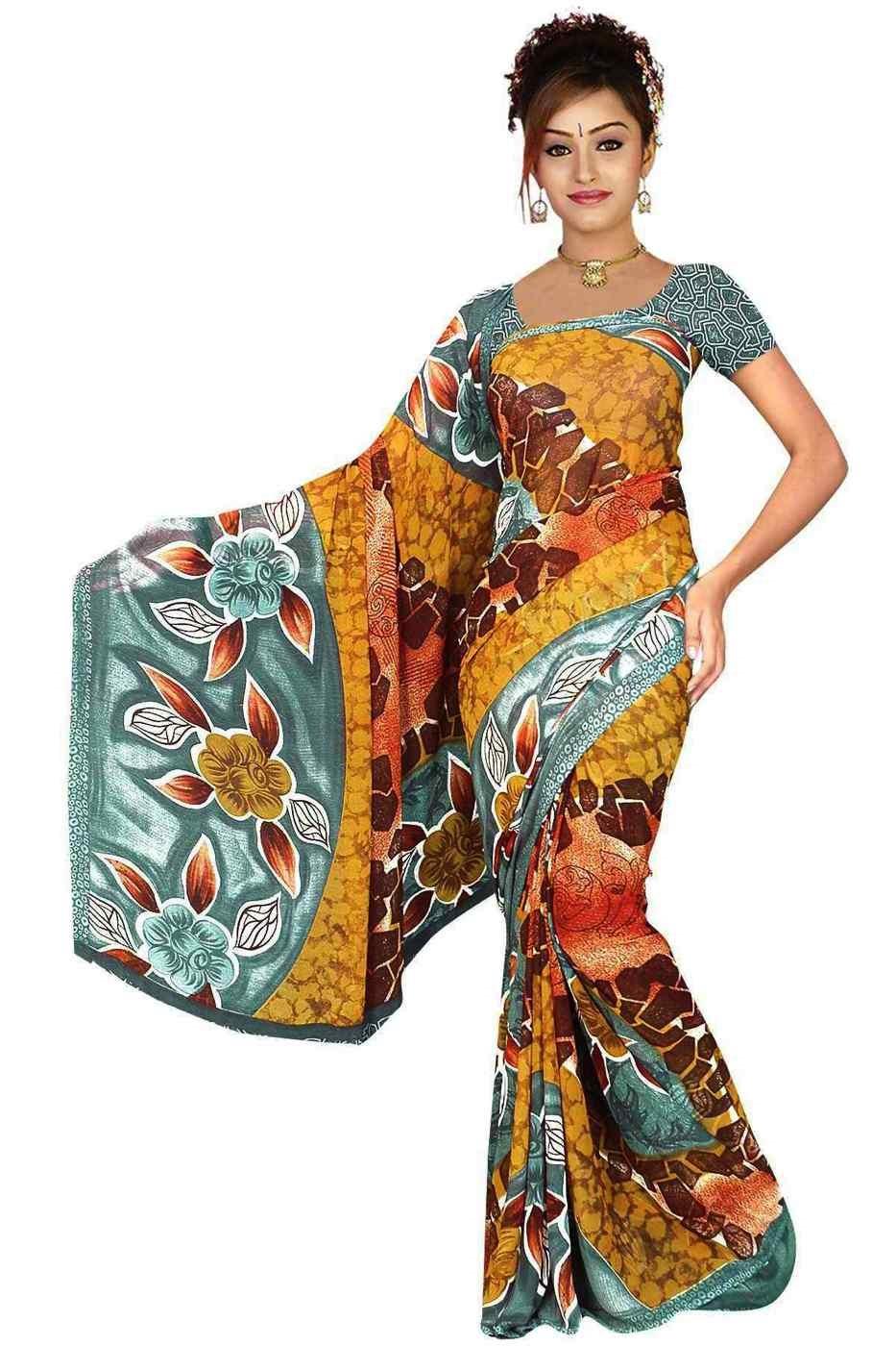 Dhriti Georgette Printed Casual Saree Sari Bellydance fabric