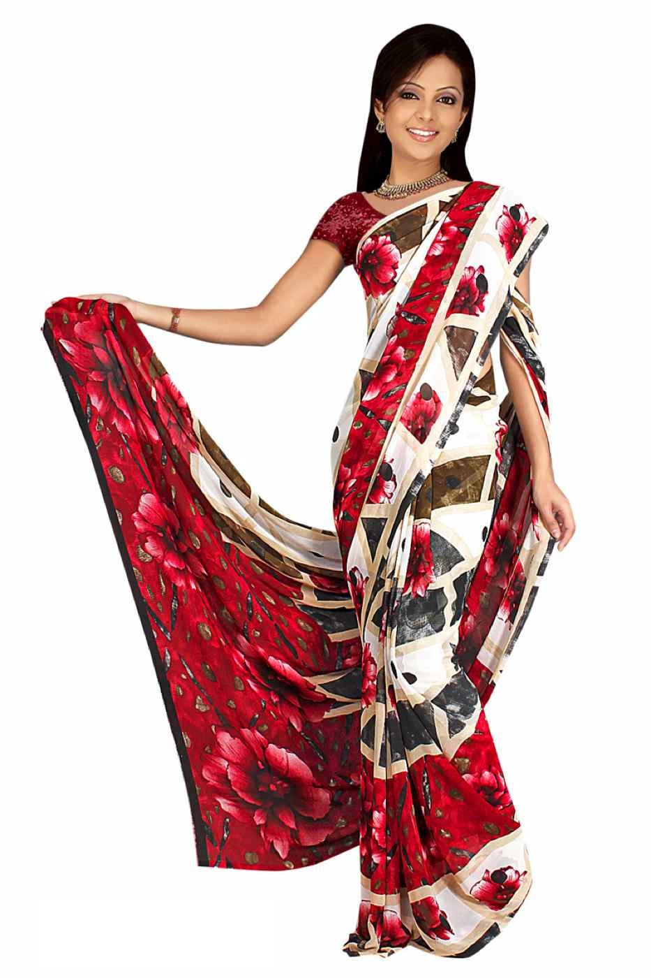 Indian Selections Dharti Georgette Printed Casual Saree Sari Bellydance fabric at Sears.com