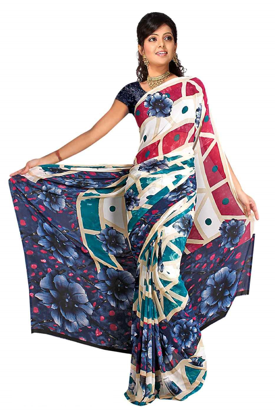 Dharini Georgette Printed Casual Saree Sari Bellydance fabric