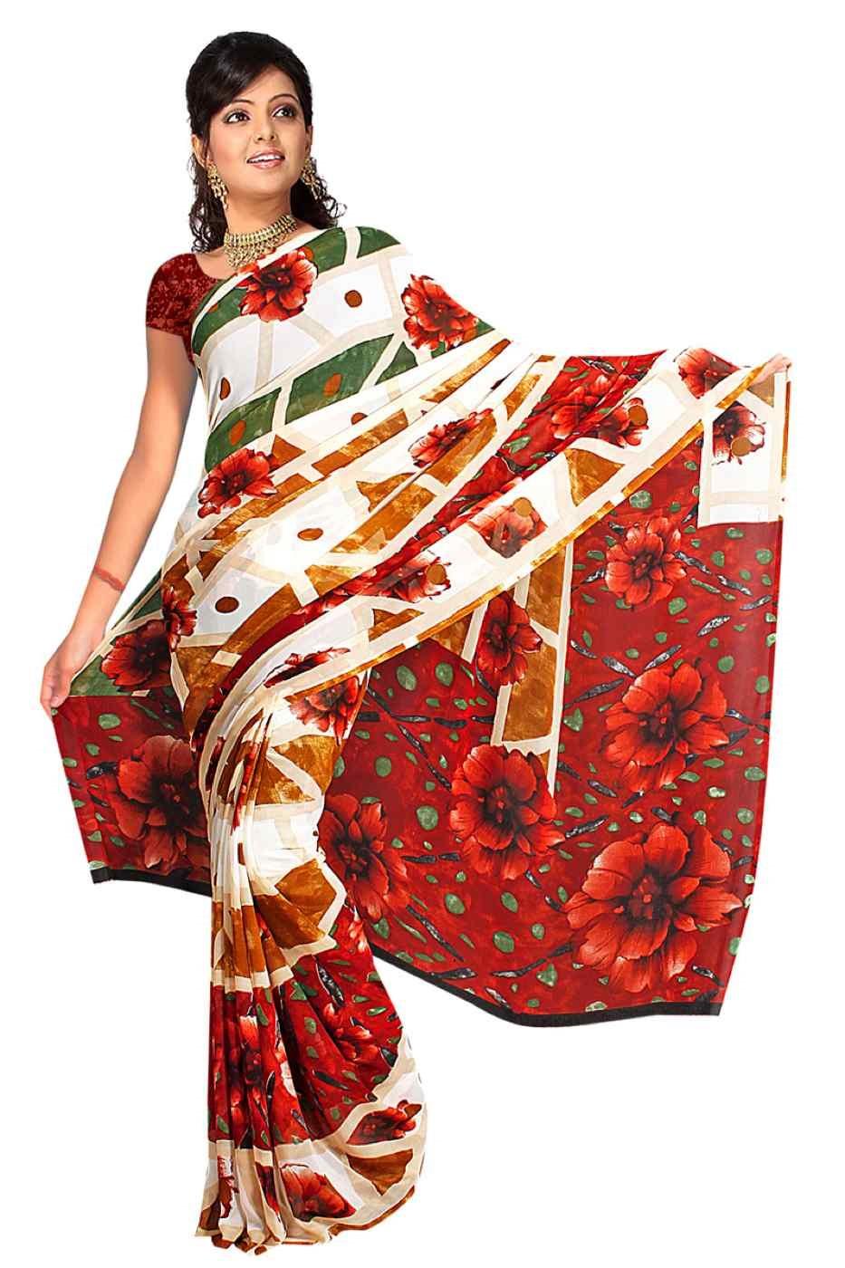 Dhanya Georgette Printed Casual Saree Sari Bellydance fabric