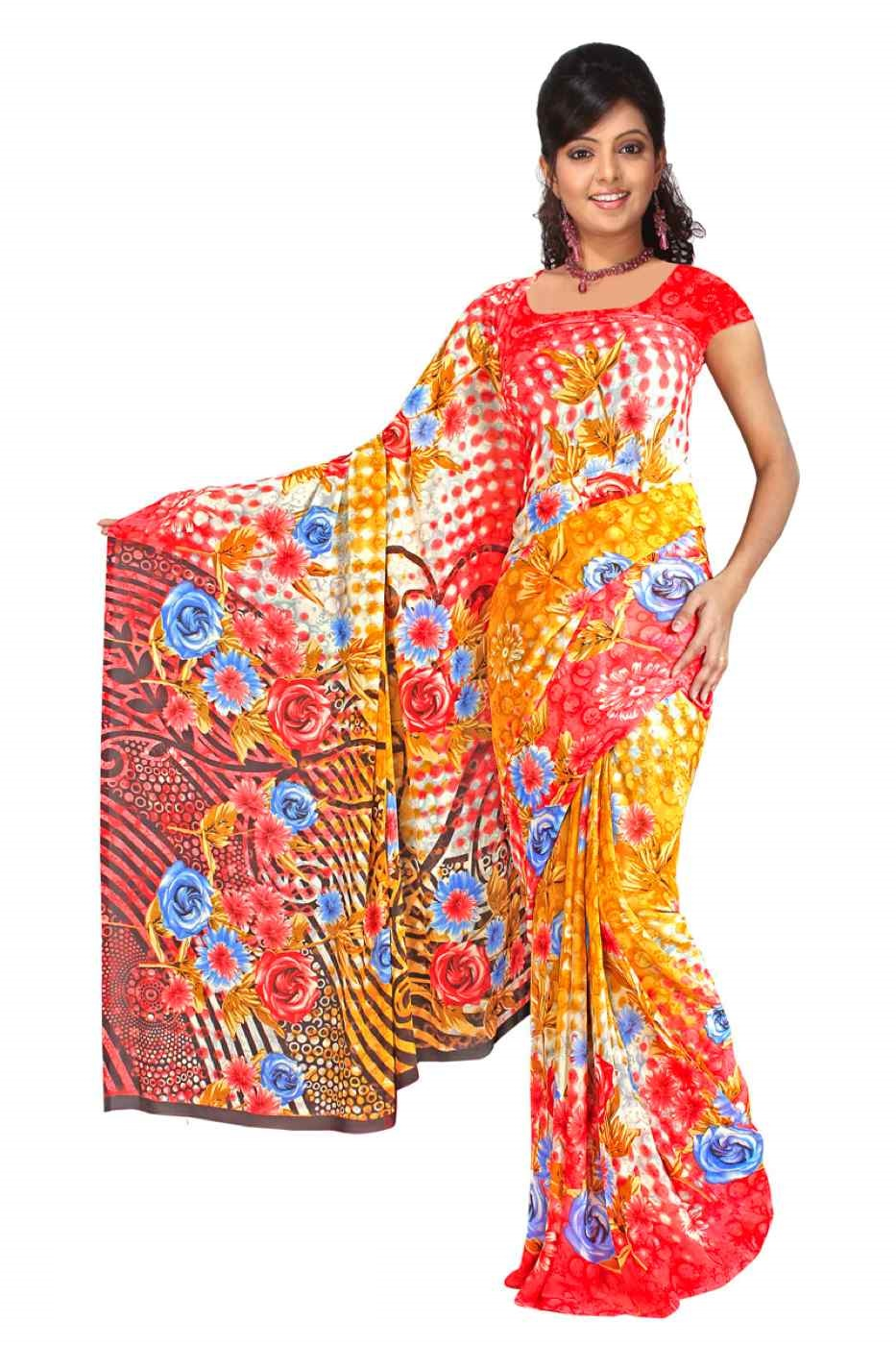 Indian Selections Devki Georgette Printed Casual Saree Sari Bellydance fabric at Sears.com