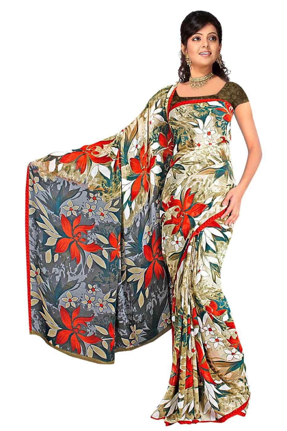 Deveshi Georgette Printed Casual Saree Sari Bellydance fabric