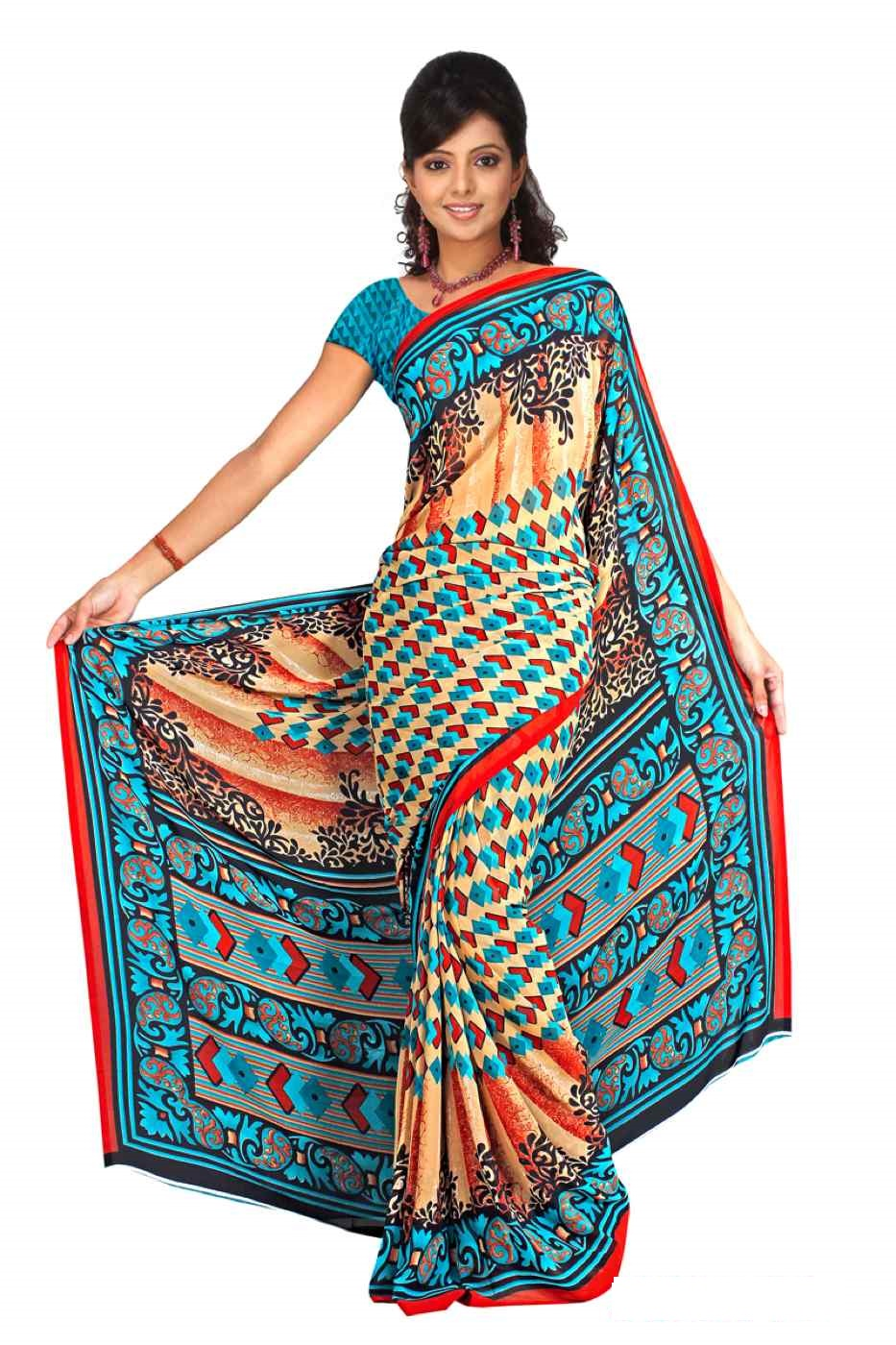 Deepal Georgette Printed Casual Saree Sari Bellydance fabric