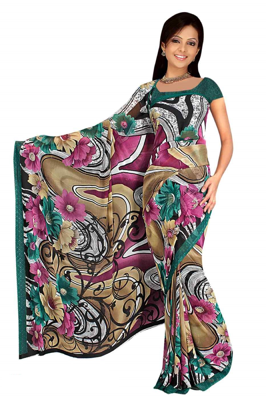 Indian Selections Deepa Georgette Printed Casual Saree Sari Bellydance fabric at Sears.com