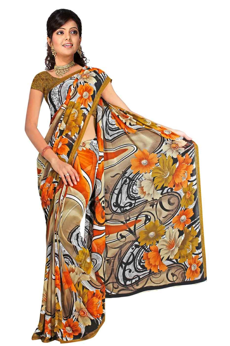 Daya Georgette Printed Casual Saree Sari Bellydance fabric